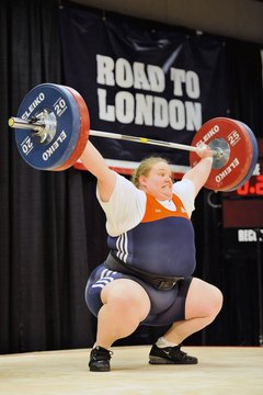 U.S. Olympian Holley Mangold snatches 110 kilograms -- 242 pounds.