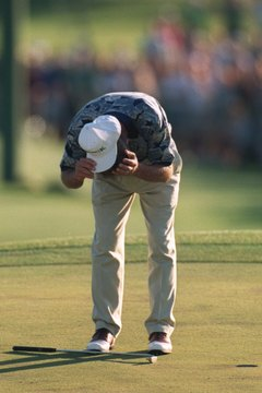 Ben Crenshaw overcome with emotion upon winning the green jacket at the 1995 Masters.