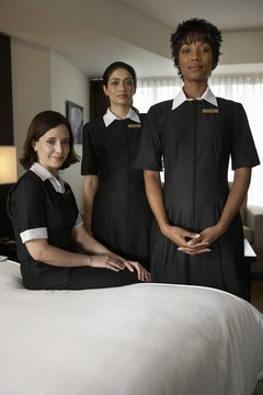 Many hotel maids work in teams to clean rooms more quickly.