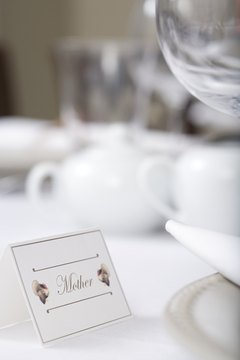 Traditional place cards are tented.