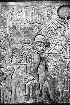 Pharaoh Akhenaten worshiped only the sun god Aten.