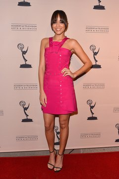 Actress Ashley Madekwe wears pale polish with her raspberry dress at an event in Los Angeles in 2013.