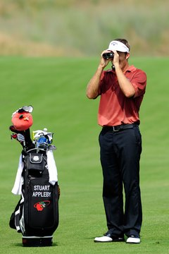 Stuart Appleby uses a rangefinder during a practice round.