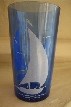 Cobalt, blue Depression Glass, sailboat