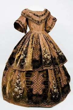 1850s printed gown