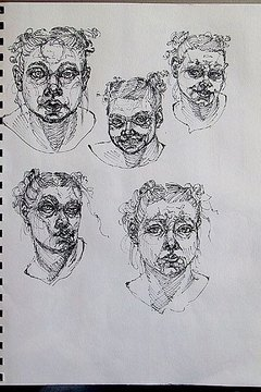 Pen drawings from Eliza Frye's successfully admitted character portfolio.