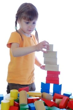 The block area allows a child to learn about the physical properties of various shapes.