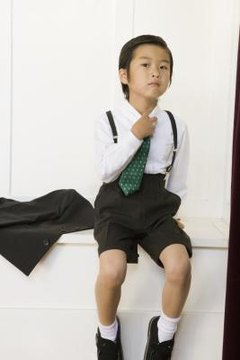Wearing a colorful, patterned tie adds style to a school uniform while staying within the rules.
