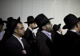 Ultra-Orthodox Jews praying in Jerusalem.