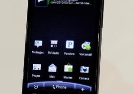 "Text messages can be accessed from the ""Messages"" icon on the Droid's home screen."