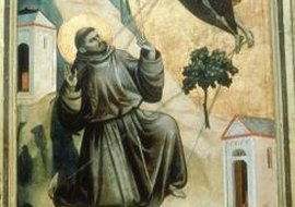 St. Francis receives the stigmata in this painting by Giotto.