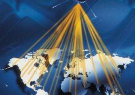 GPS satellites beam navigation signals to Earth.