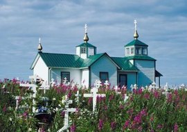 Russian Orthodox churches, like this one in Alaska, hold collections of artifacts.