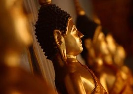 A statue of Buddha is an important symbol during worship.