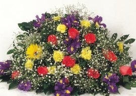 Floral arrangements come in various sizes and shapes.