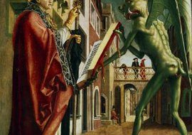 Painting of the Devil presenting Saint Augustine with the book of vices.