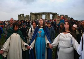 Wiccans celebrating Winter Solstice at Stonehenge.