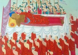 This painting depicts the death of Buddha.