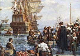 Puritans departed on the Mayflower in search of religious freedom.