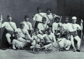 Lacrosse is one of the secular traditions preserved by the people of the Kahnawake Mohawk Territory; Mohawk religious customs have also been retained and adapted.
