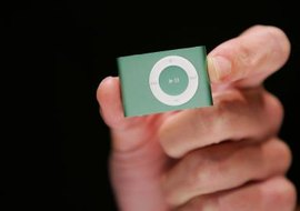 Control the volume on your iPod Shuffle using the buttons on the front.