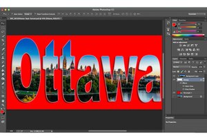Make images appear through text with a clipping mask.