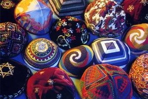 A variety of crocheted yarmulkes