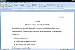 Create an MLA Outline in Microsoft Word 2007