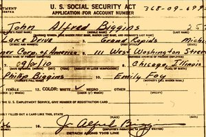 An original Social Security Card application form SS-5