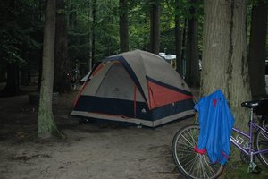 A dome tent is a popular choice for hikers and cyclists.