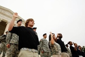 Active Duty Army and National Guard recruits are sworn in before the Jefferson Memorial.