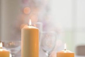 Candles are a simple, elegant centerpiece at memorial services.