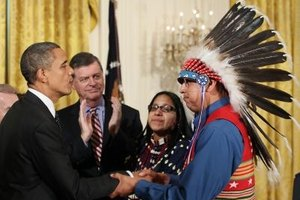 President Obama greets a Chippewa Leader.