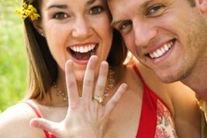 "Saying something such as ""I'm so happy for you!"" is fitting when acknowledging a couple's engagement."