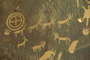 Close-up of cave drawings.