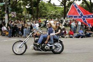 Motorcylce in Rolling Thunder parade through Washington D.C.