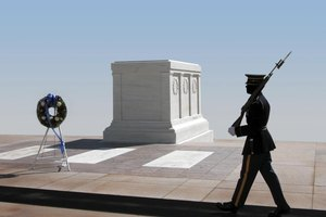 A guard at the Tomb of the Unknown soldier.