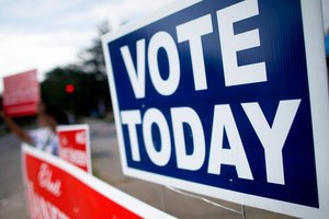 """Vote Today"" sign."