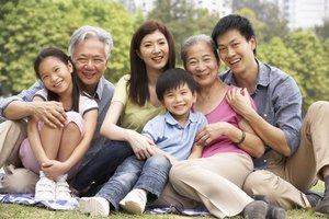 Multi-generational Chinese family in park.