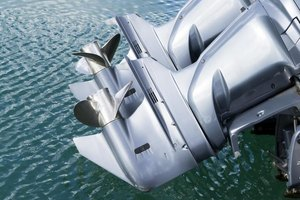Outboard motors on a boat.
