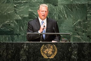Environmental activist Al Gore gives a speech at the United Nations.