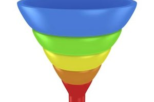 Sales funnels are typically multi-colored to represent the steps in the sales process.