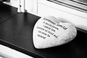 Engraved memory stone at funeral