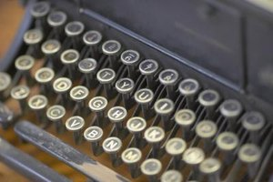 A close-up of the keys on an old typewriter.
