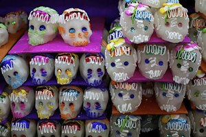 Sugar skulls for sale in a stall.