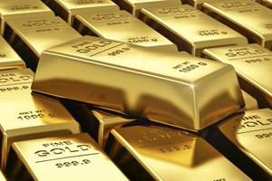 Close-up of a stack of gold bars