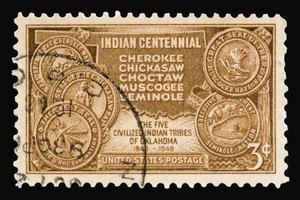 A centennial postage stamp commemorates the five tribes and the Trail of Tears.