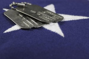 Military dog tags on top of American flag.