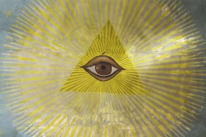 Illuminati eye painted on church ceiling