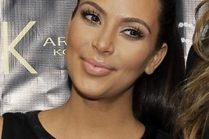 Kim Kardashian sports long lashes at the Sears In-Store Appearance For Kardashian Kollection in Houston, Texas.